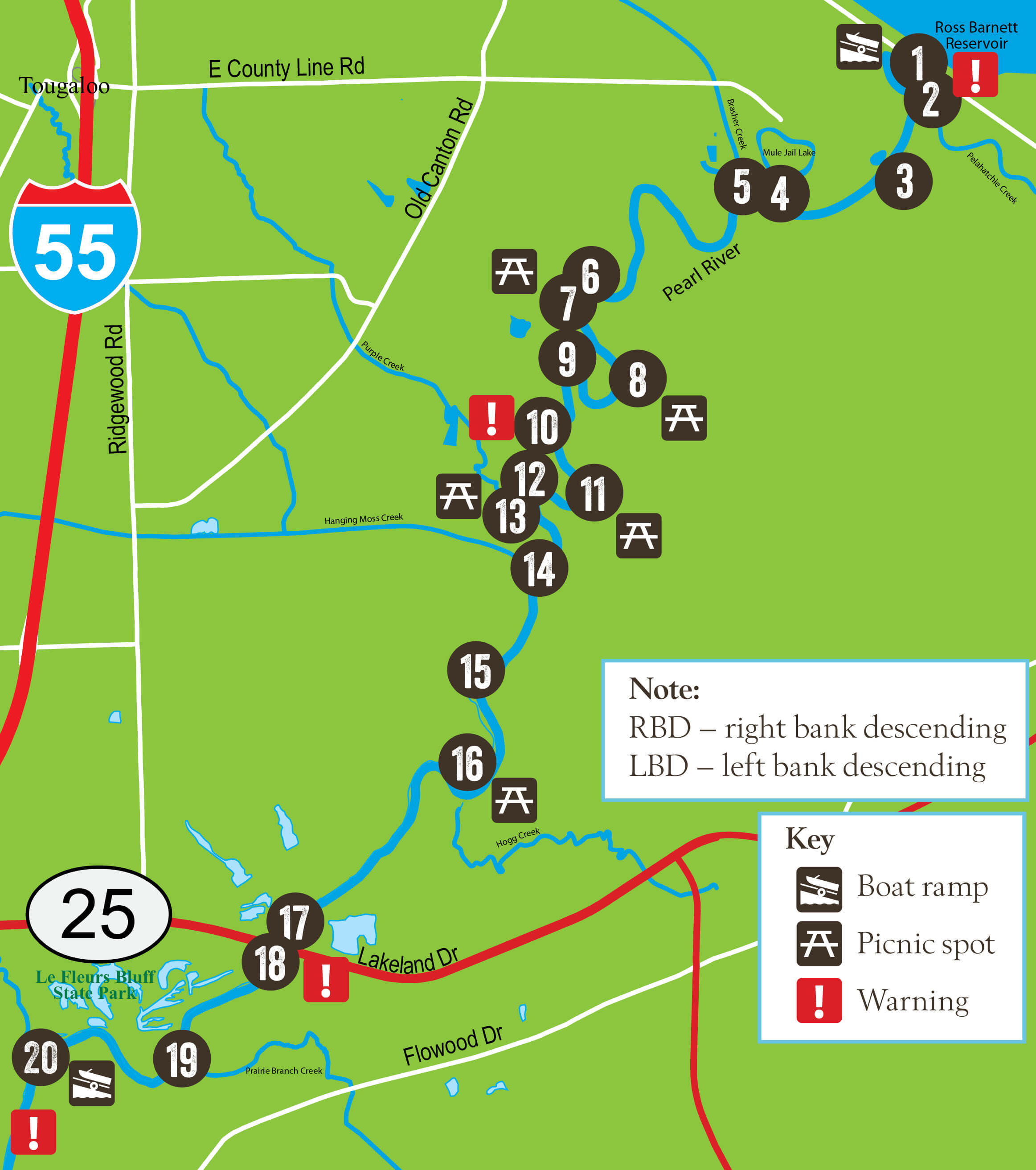 Details for the Pearl River Trail in Mississippi