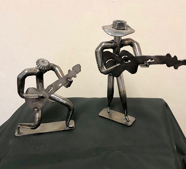 Metal figurines created by artist Lee Washington from the Delta
